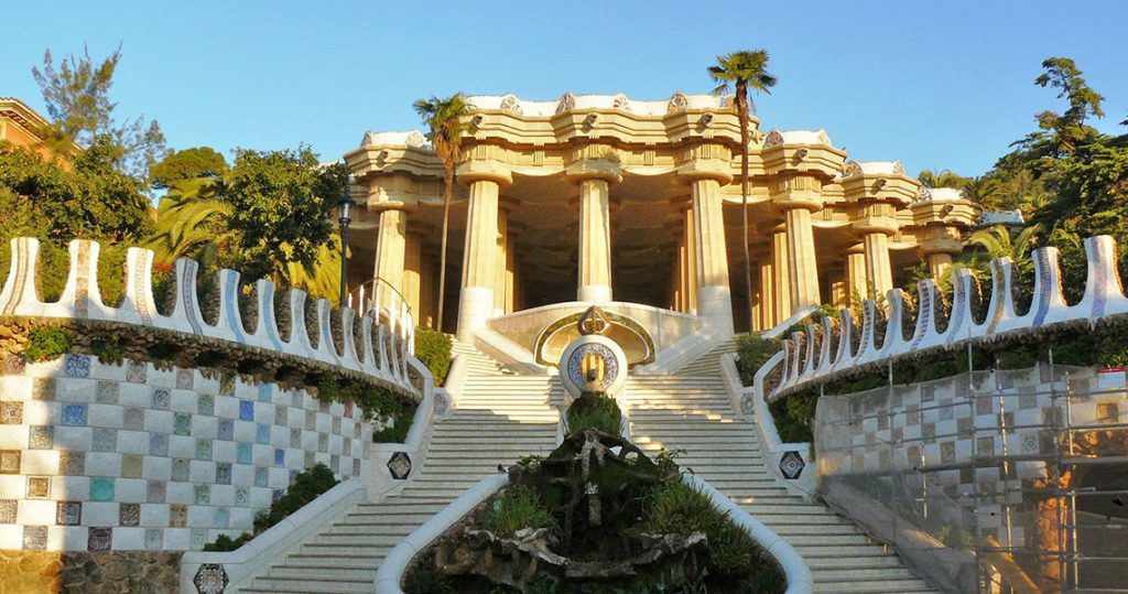 Entering Park Guell in the morning during a private tour.