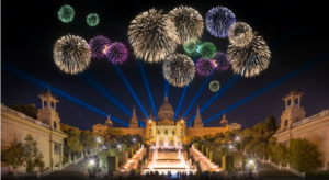 Fireworks over the national palace in barcelona for new year celebration.