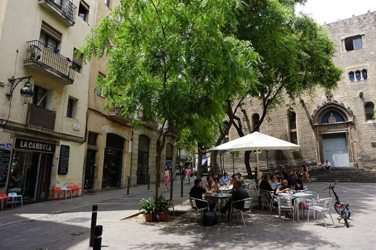 Sant Pere plaza in the born district during a walking tour in barcelona