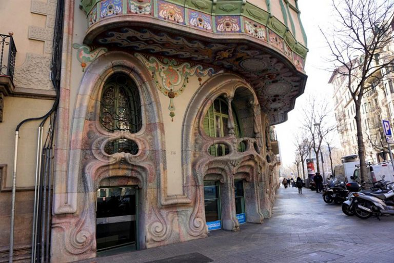casa comalat in barcelona main entrance during a tour with brightside