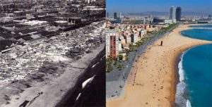 Areial view of Barcelona beach area, in the 1950s and now.