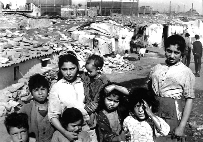 children of the old slum somorrostro in barcelona during the fifties
