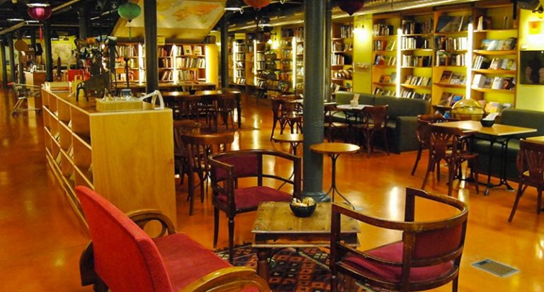 the interior of altair book shop in barcelona