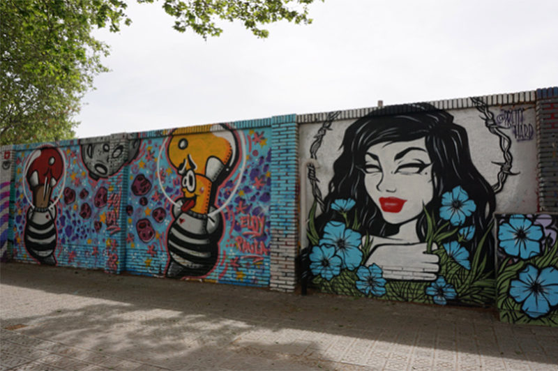 wall graffitis in Poblenou district of Barcelona