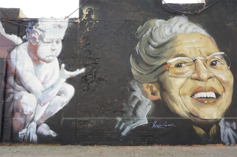 graffiti with an angel and an old lady