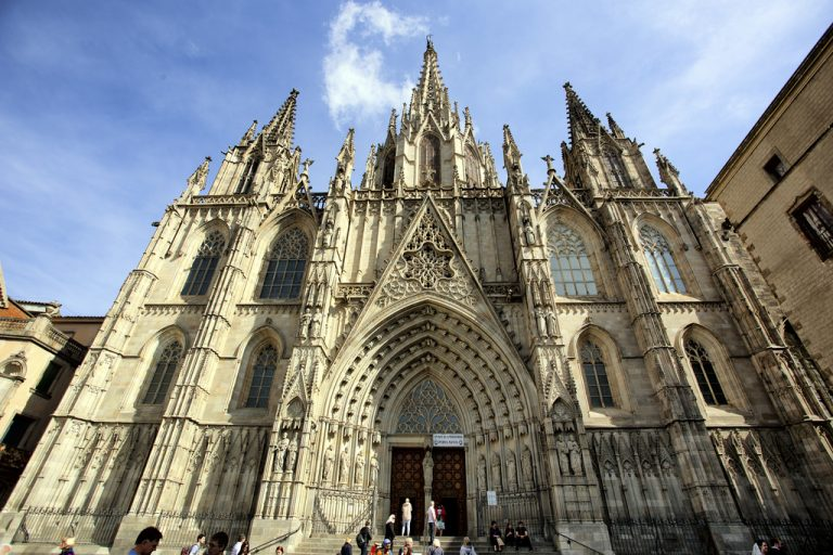 facade of barcelona cathedral in the gothic quarter during a old city walking tour