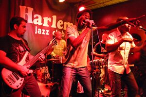 band playing on stage of harlem jazz club in barcelona