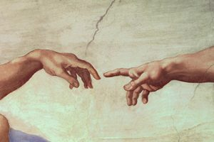 Painting of two hands almost touching each other.