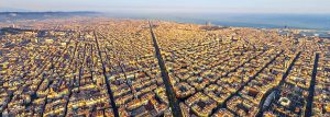 aerial view of barcelona during sunset