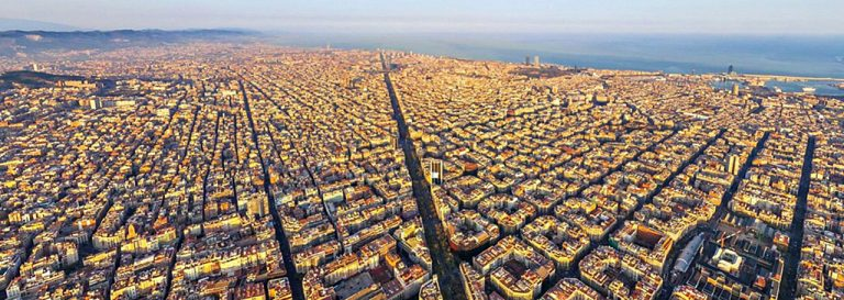 Aerial view of Barcelona city.