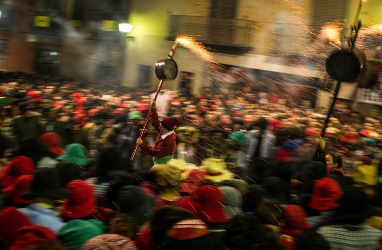 folklore popular festival celebrations during a parade in barcelona