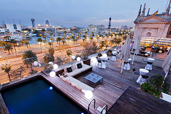 hotel terrace with views of Old Port