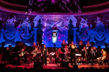 Music orchestra concert on a stage in barcelona