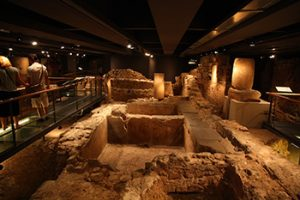 Underground archeological site in the old city of Barcelona