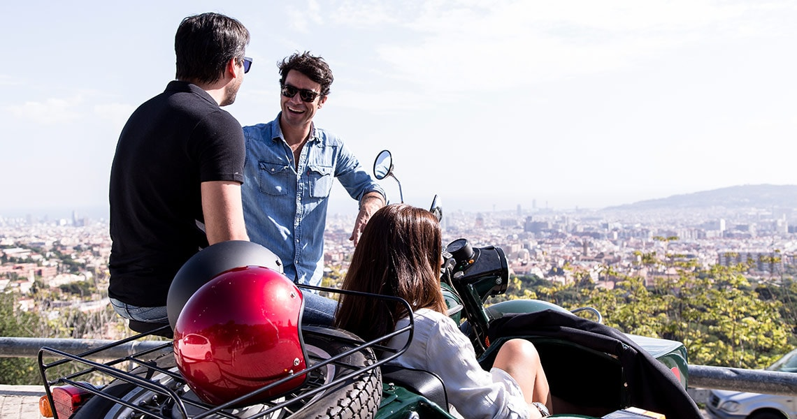 Great view of Barcelona during a sidecar motorcycle tour.