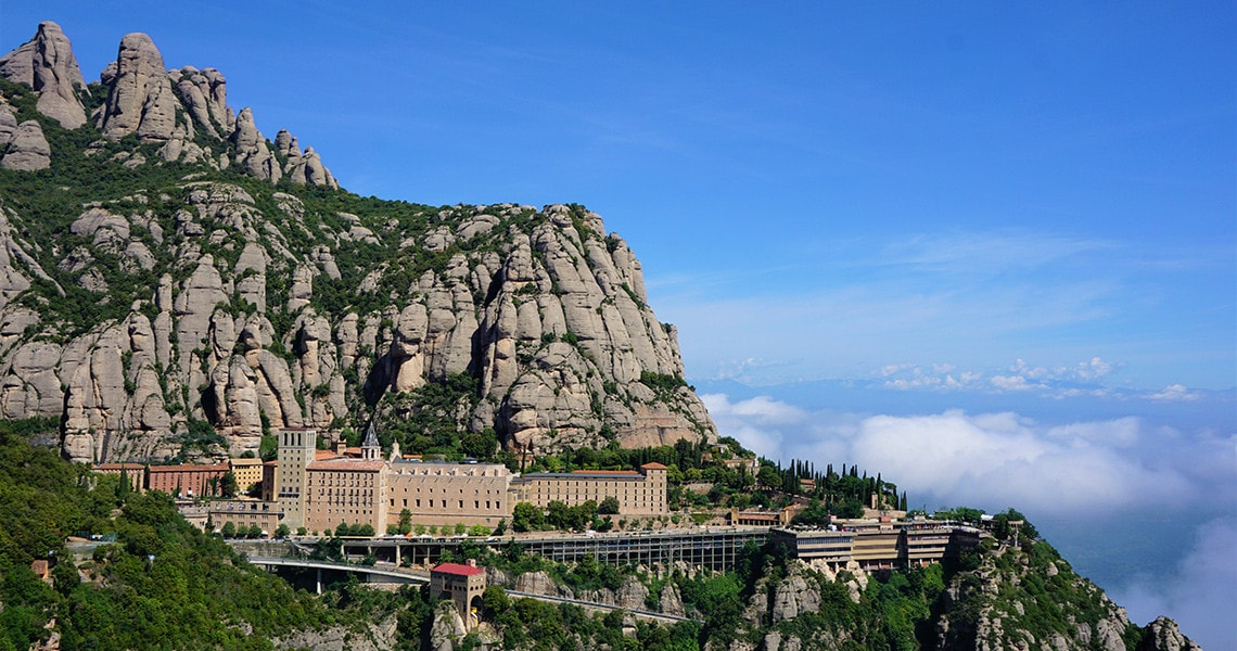 The view of the Montserrat monastery during a walking tour of Montserrat hill.