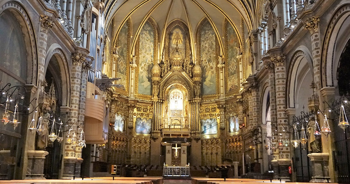The altar inside of the Monastery of Montserrat church.