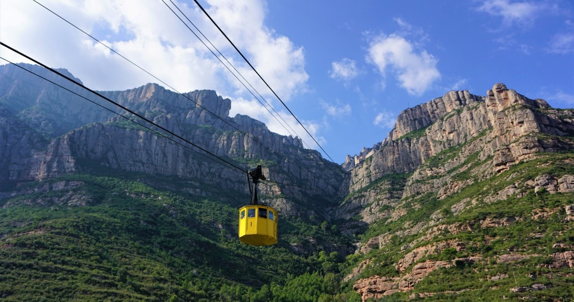 Iconic cable car ride of Montserrat monastery near Barcelona.