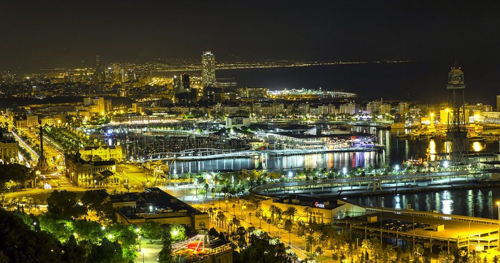 Night view of Barcelona from Montjuic hill.