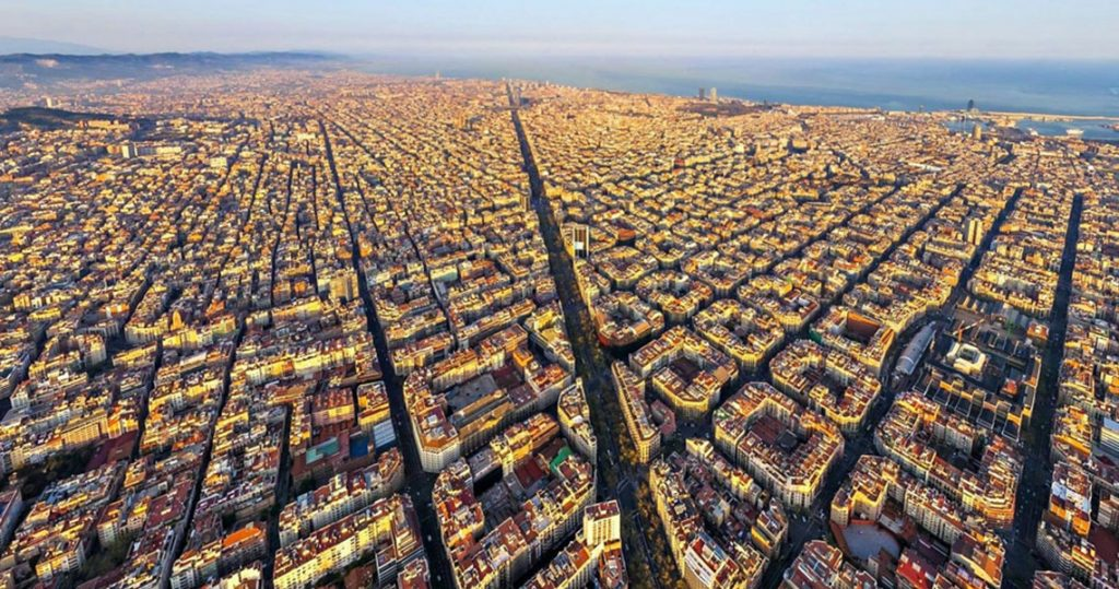 Aerial view of Eixample district in Barcelona.