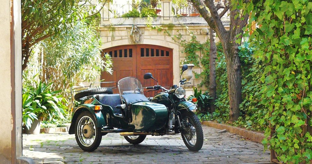 Beautiful sidecar motorcycle in Sarria district of Barcelona.