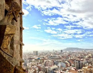 View of Barcelona from Sagrada Familia tower on a sunny day