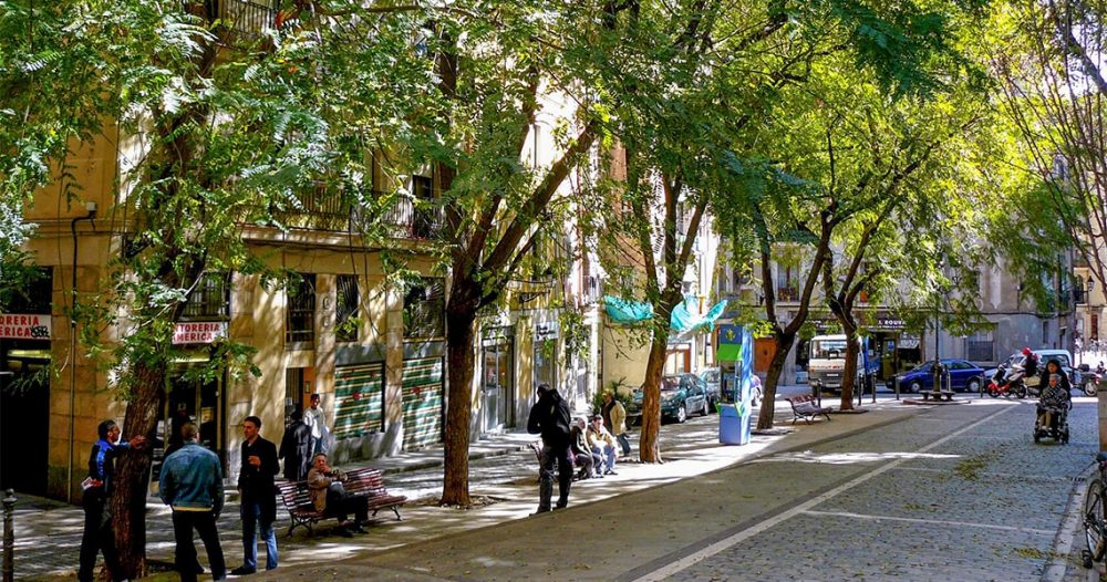 street with trees and people walking tour in barcelona old town