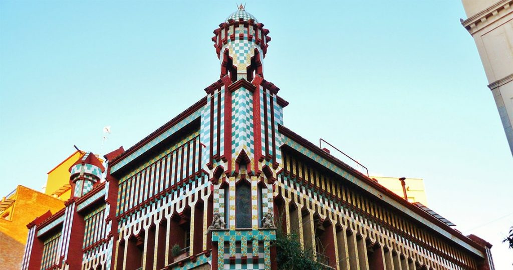 Façade of casa vicens of gaudi in barcelona