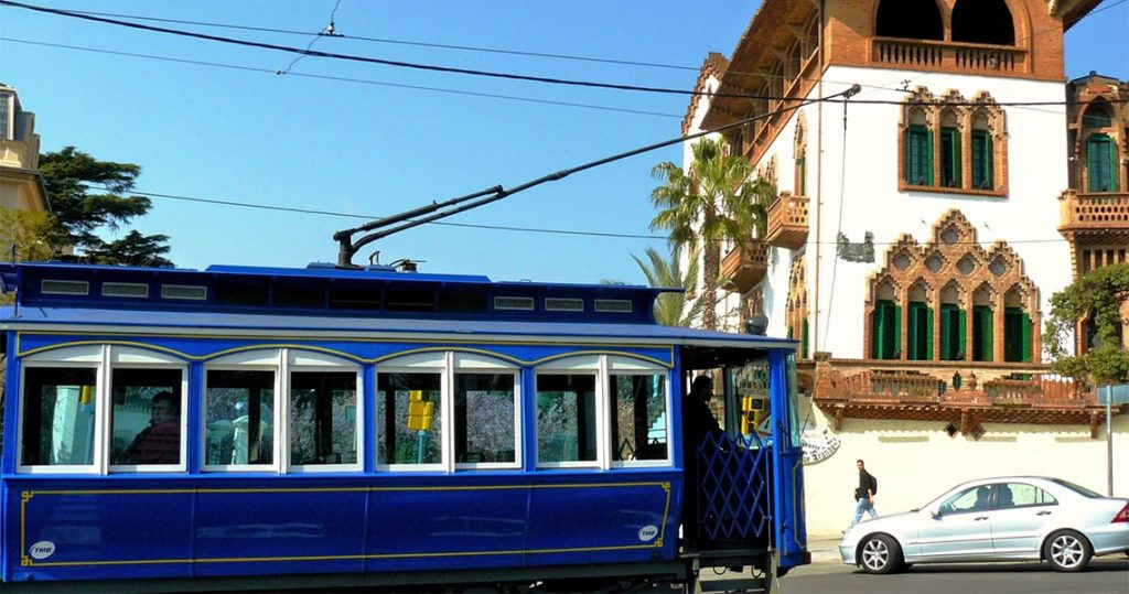 blue tram in barcelona uptown.