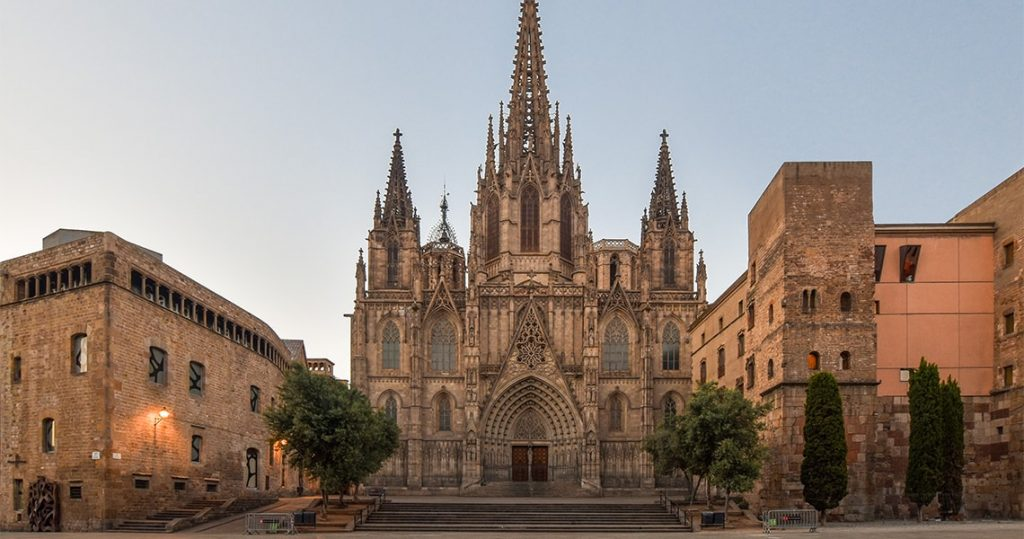 gothic cathedral of barcelona old city